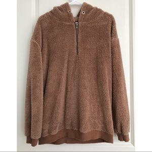 Jackets & Blazers - Comfy Brown Teddy Quarter Zip Pullover